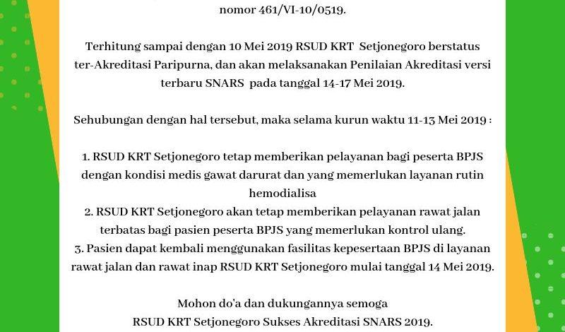 Informasi Pelayanan RSUD KRT. Setjonegoro