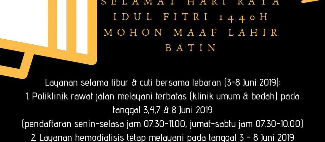 Informasi Pelayanan Hari Raya Idul Fitri 1440 H