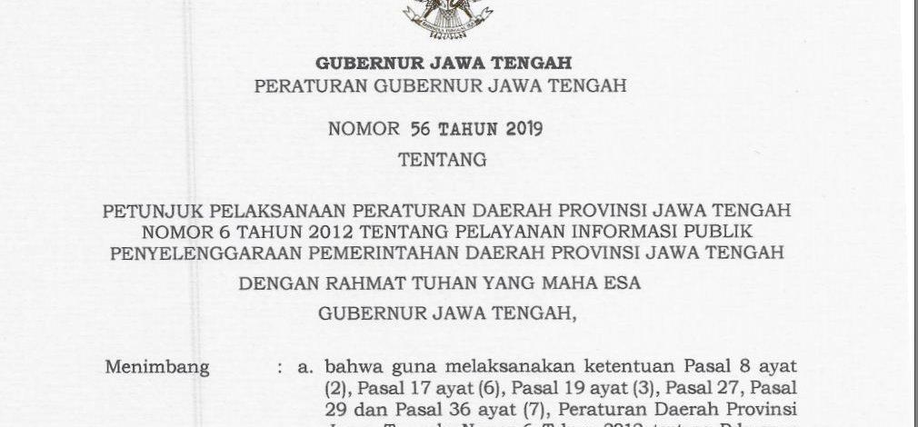 Peraturan Gubernur Jawa Tengah Nomor 56 Tahun 2019